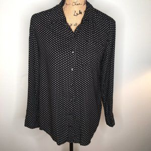 White Stag Black Button Down w/ White Swiss Dots